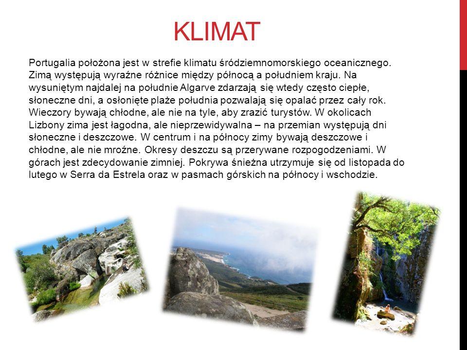 KLIMAT Portugalia położona jest w strefie klimatu śródziemnomorskiego oceanicznego. Zimą występują wyraźne różnice między północą a południem kraju. N