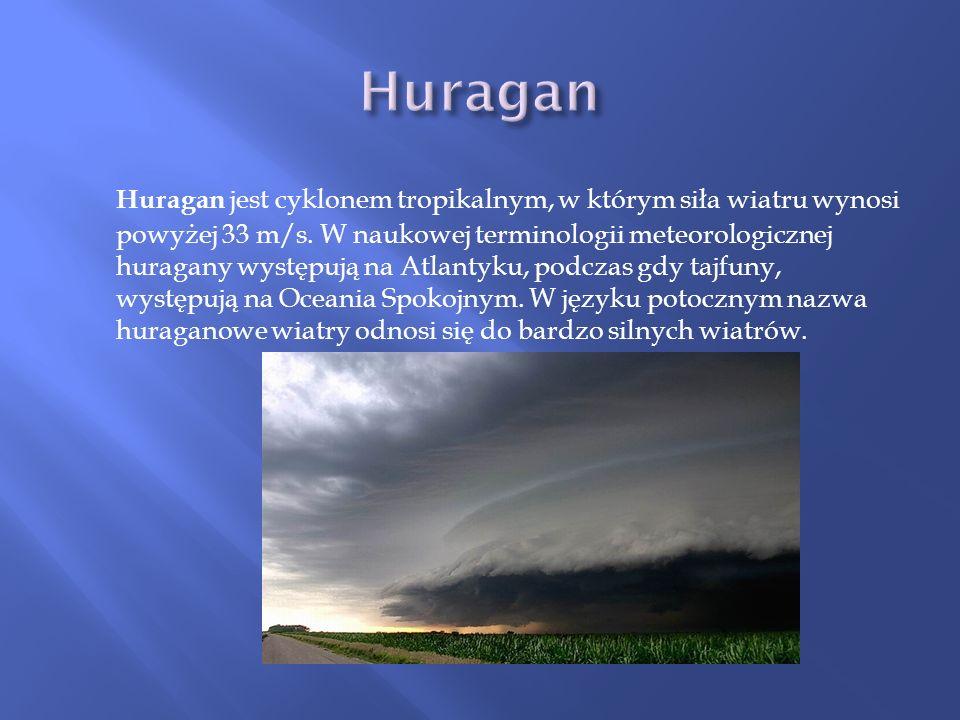 Huragan jest cyklonem tropikalnym, w którym siła wiatru wynosi powyżej 33 m/s. W naukowej terminologii meteorologicznej huragany występują na Atlantyk