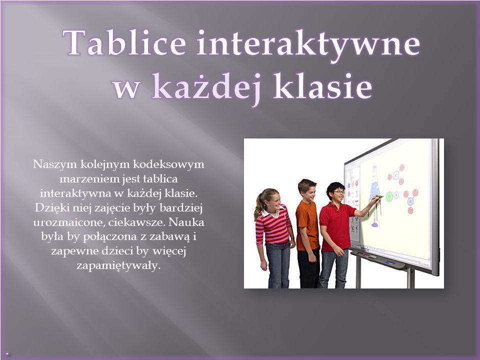Naszym kolejnym kodeksowym marzeniem jest tablica interaktywna w każdej klasie. Dzięki niej zajęcie były bardziej urozmaicone, ciekawsze. Nauka była b