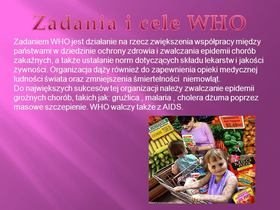Struktura WHO obejmuje Światowe Zgromadzenie Zdrowia, Radę Wykonawczą i Sekretariat oraz 6 biur regionalnych.