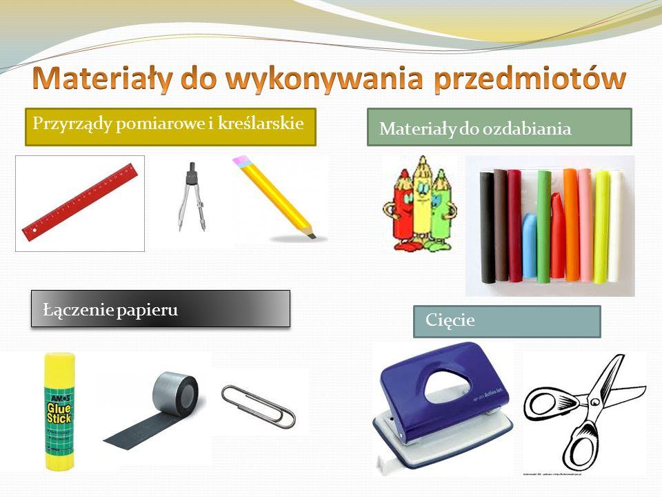 Przyrządy pomiarowe i kreślarskie Materiały do ozdabiania Łączenie papieru Cięcie