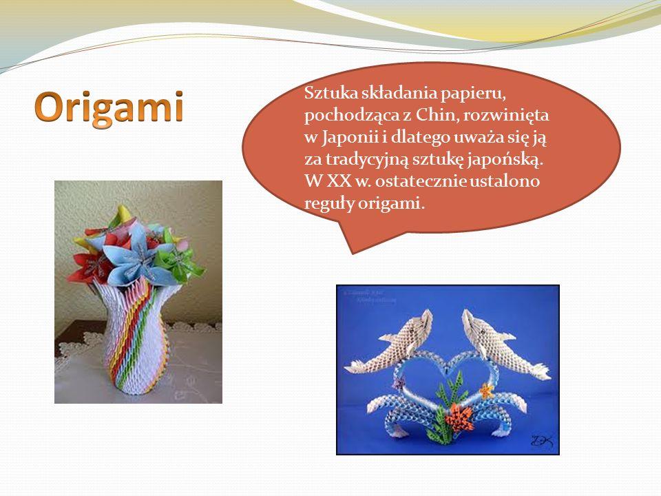 Sztuka składania papieru, pochodząca z Chin, rozwinięta w Japonii i dlatego uważa się ją za tradycyjną sztukę japońską. W XX w. ostatecznie ustalono r