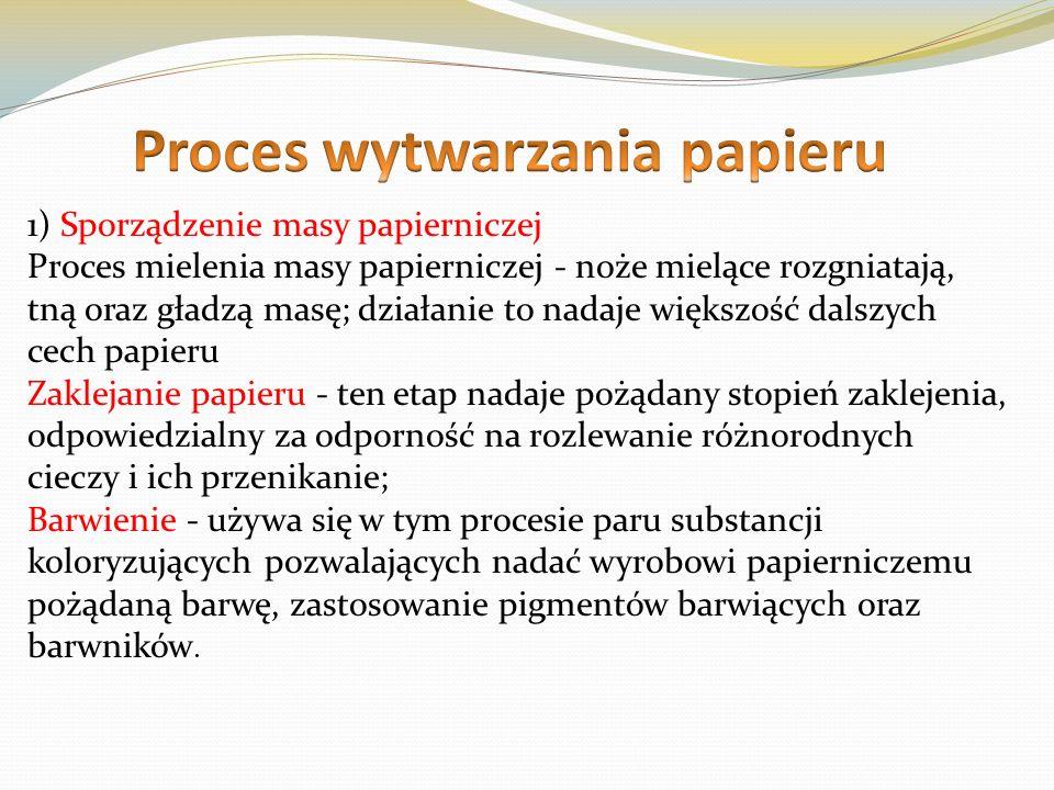 Proces oczyszczania 2) Spilśnianie papieru Przykłada się masę papierniczą do odpowiednich sit i prowadzi odwodnienie, poprzez oczka sita przepływa woda składająca się z masy papierniczej Odciśnięcie wody - włókna papieru rozkłada się na taśmie, którą wprowadza się między walec