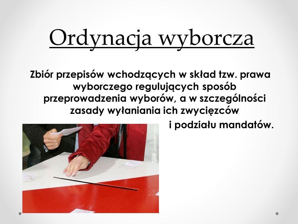 Ordynacja wyborcza Zbiór przepisów wchodzących w skład tzw. prawa wyborczego regulujących sposób przeprowadzenia wyborów, a w szczególności zasady wył