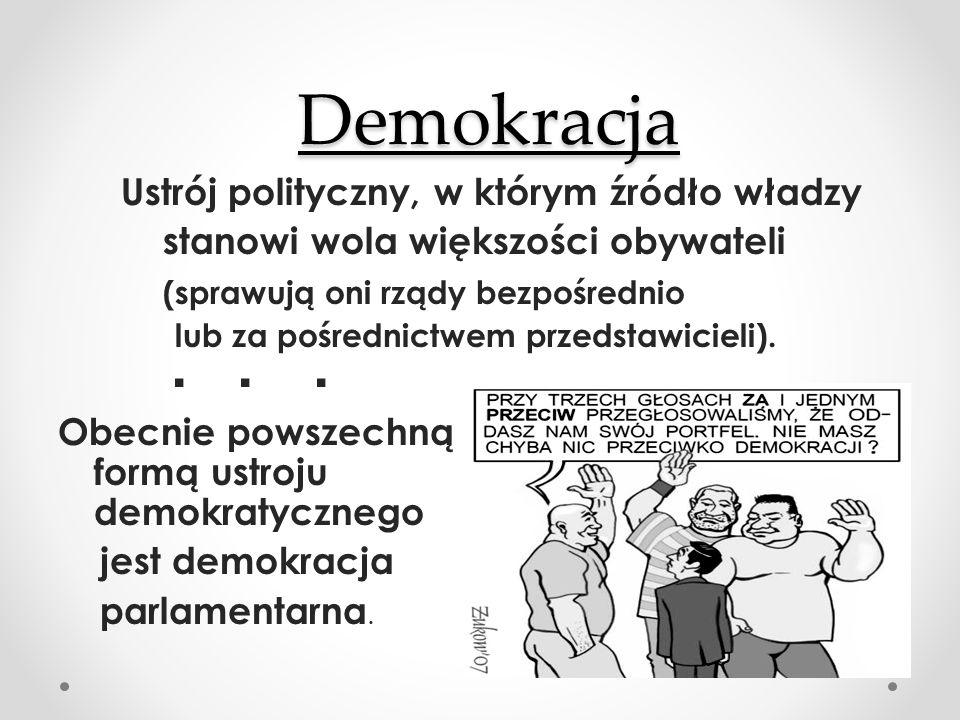 Demokracja Demokracja Ustrój polityczny, w którym źródło władzy stanowi wola większości obywateli (sprawują oni rządy bezpośrednio lub za pośrednictwem przedstawicieli).