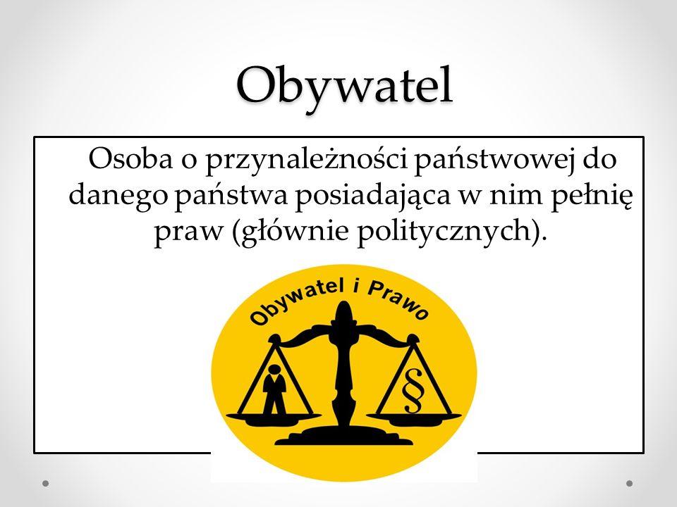 Obywatel Obywatel Osoba o przynależności państwowej do danego państwa posiadająca w nim pełnię praw (głównie politycznych).