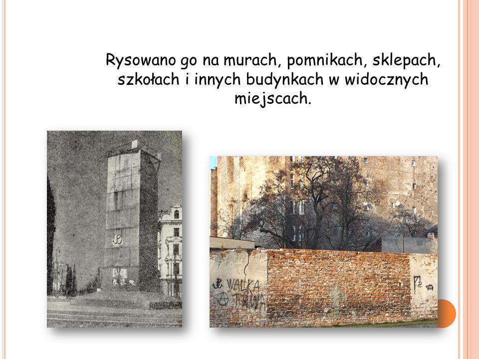 Rysowano go na murach, pomnikach, sklepach, szkołach i innych budynkach w widocznych miejscach.