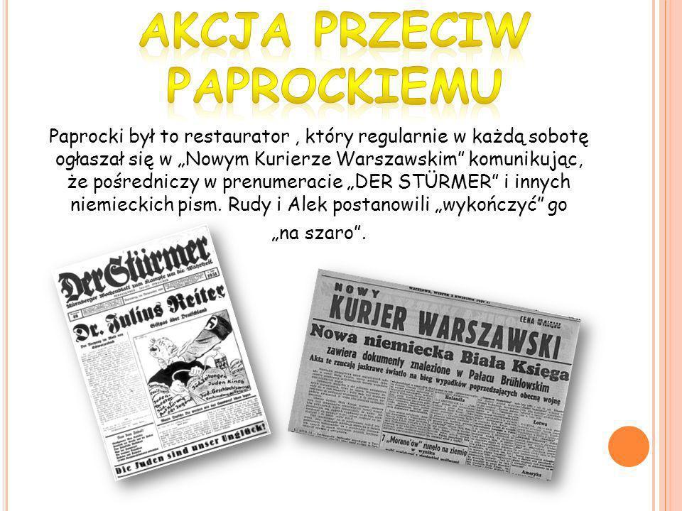 Paprocki był to restaurator, który regularnie w każdą sobotę ogłaszał się w Nowym Kurierze Warszawskim komunikując, że pośredniczy w prenumeracie DER