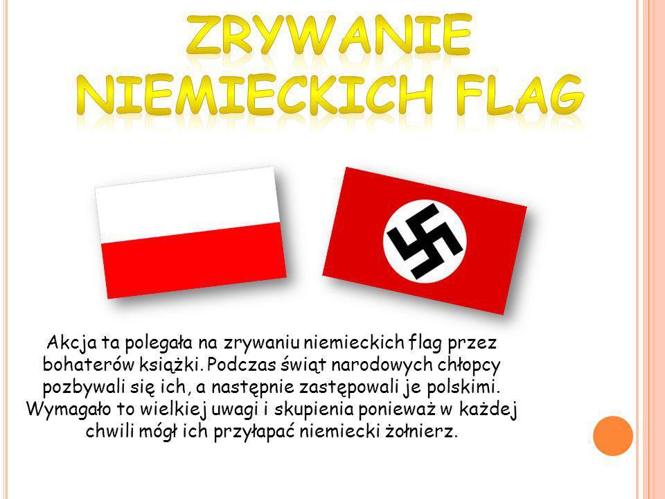 Akcja ta polegała na zrywaniu niemieckich flag przez bohaterów książki. Podczas świąt narodowych chłopcy pozbywali się ich, a następnie zastępowali je