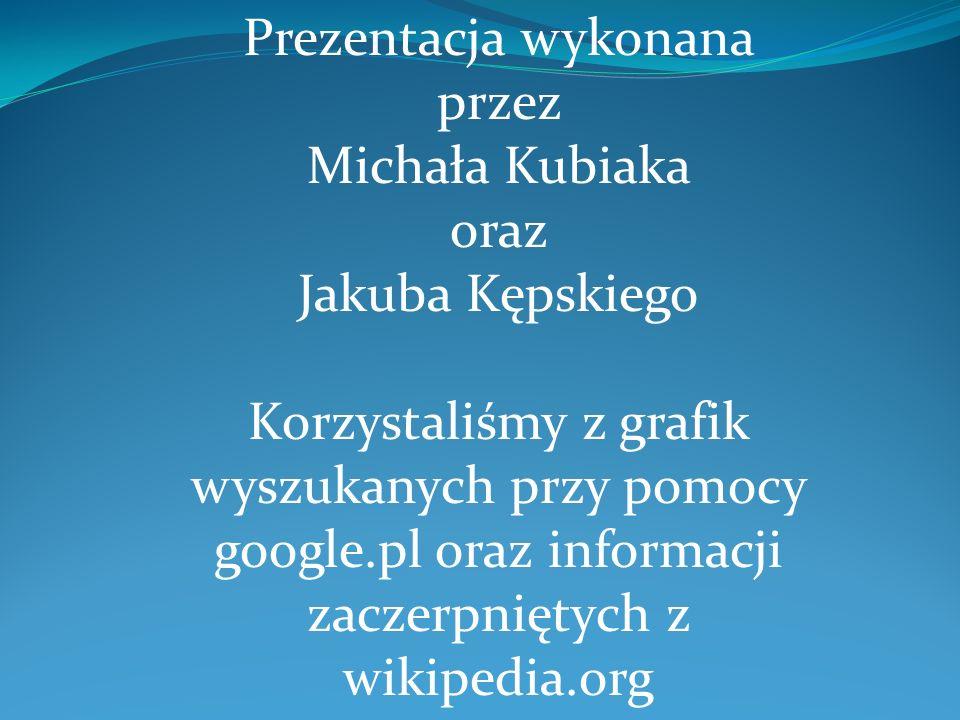 Prezentacja wykonana przez Michała Kubiaka oraz Jakuba Kępskiego Korzystaliśmy z grafik wyszukanych przy pomocy google.pl oraz informacji zaczerpnięty