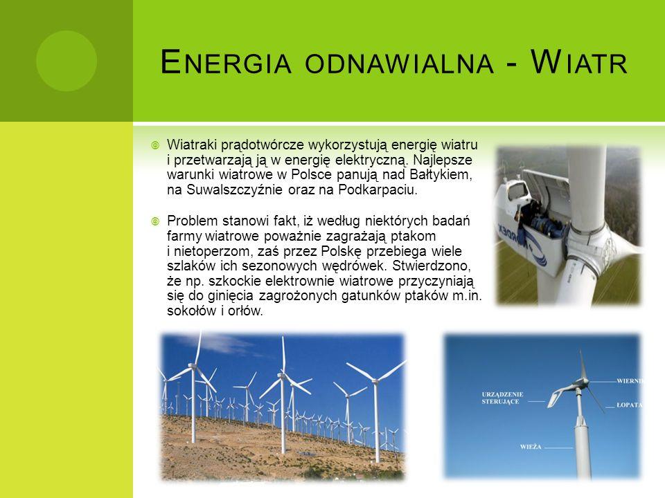 E NERGIA ODNAWIALNA - W IATR Wiatraki prądotwórcze wykorzystują energię wiatru i przetwarzają ją w energię elektryczną. Najlepsze warunki wiatrowe w P