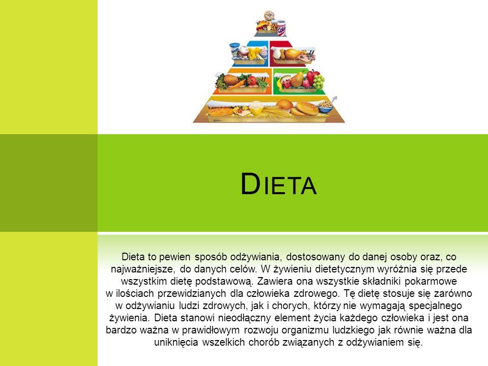 D IETA Dieta to pewien sposób odżywiania, dostosowany do danej osoby oraz, co najważniejsze, do danych celów. W żywieniu dietetycznym wyróżnia się prz