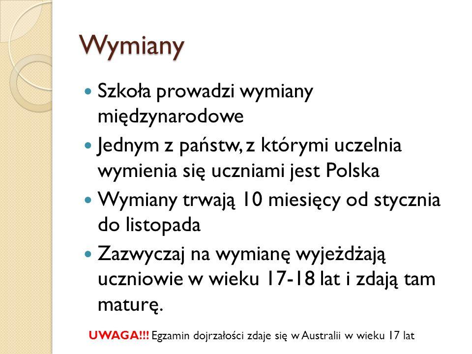 Wymiany Szkoła prowadzi wymiany międzynarodowe Jednym z państw, z którymi uczelnia wymienia się uczniami jest Polska Wymiany trwają 10 miesięcy od sty