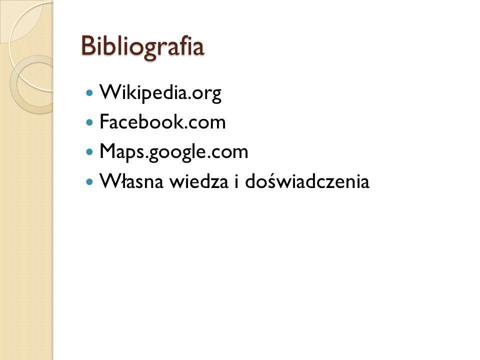 Bibliografia Wikipedia.org Facebook.com Maps.google.com Własna wiedza i doświadczenia