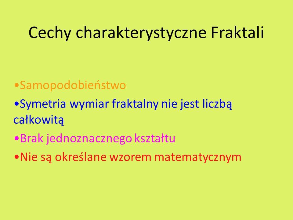 Cechy charakterystyczne Fraktali Samopodobieństwo Symetria wymiar fraktalny nie jest liczbą całkowitą Brak jednoznacznego kształtu Nie są określane wzorem matematycznym