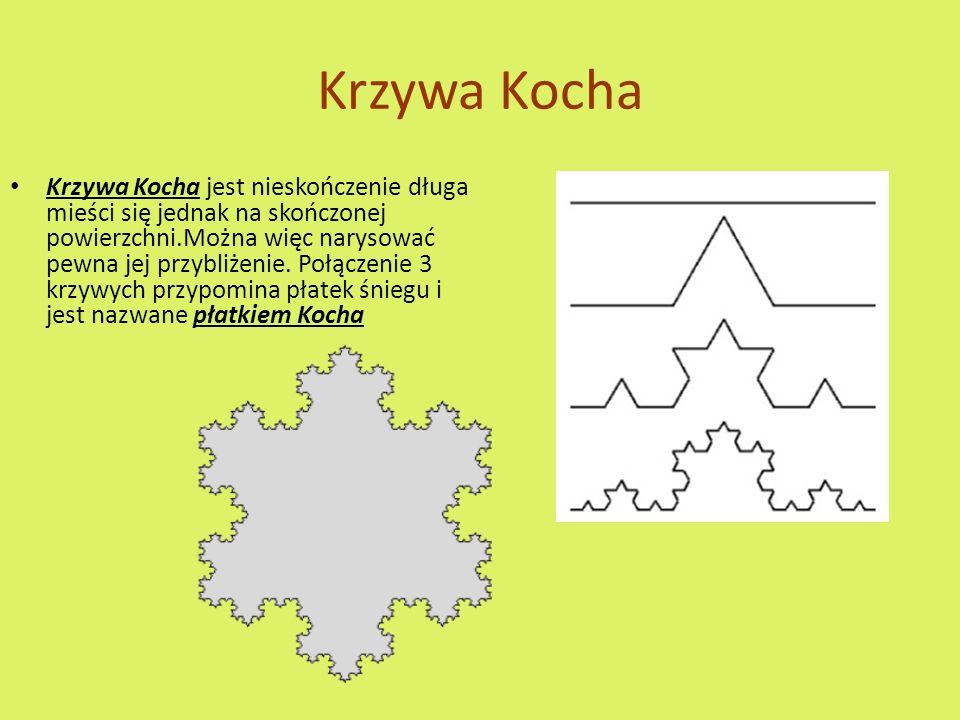 Krzywa Kocha Krzywa Kocha jest nieskończenie długa mieści się jednak na skończonej powierzchni.Można więc narysować pewna jej przybliżenie.