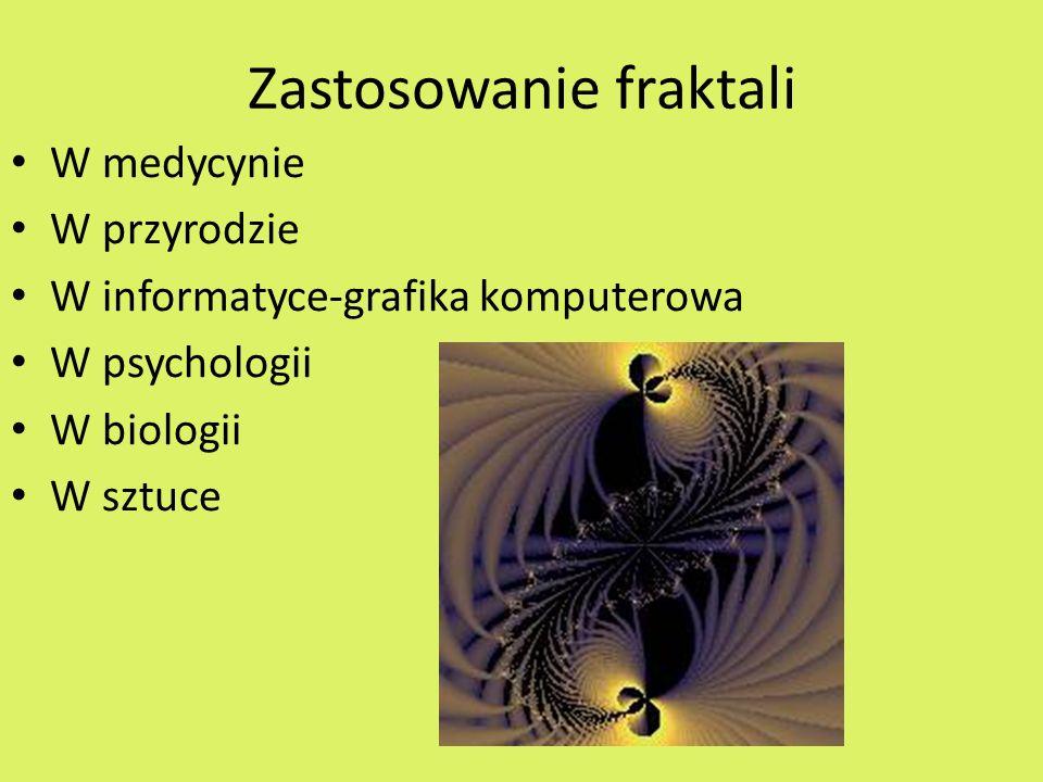 Zastosowanie fraktali W medycynie W przyrodzie W informatyce-grafika komputerowa W psychologii W biologii W sztuce