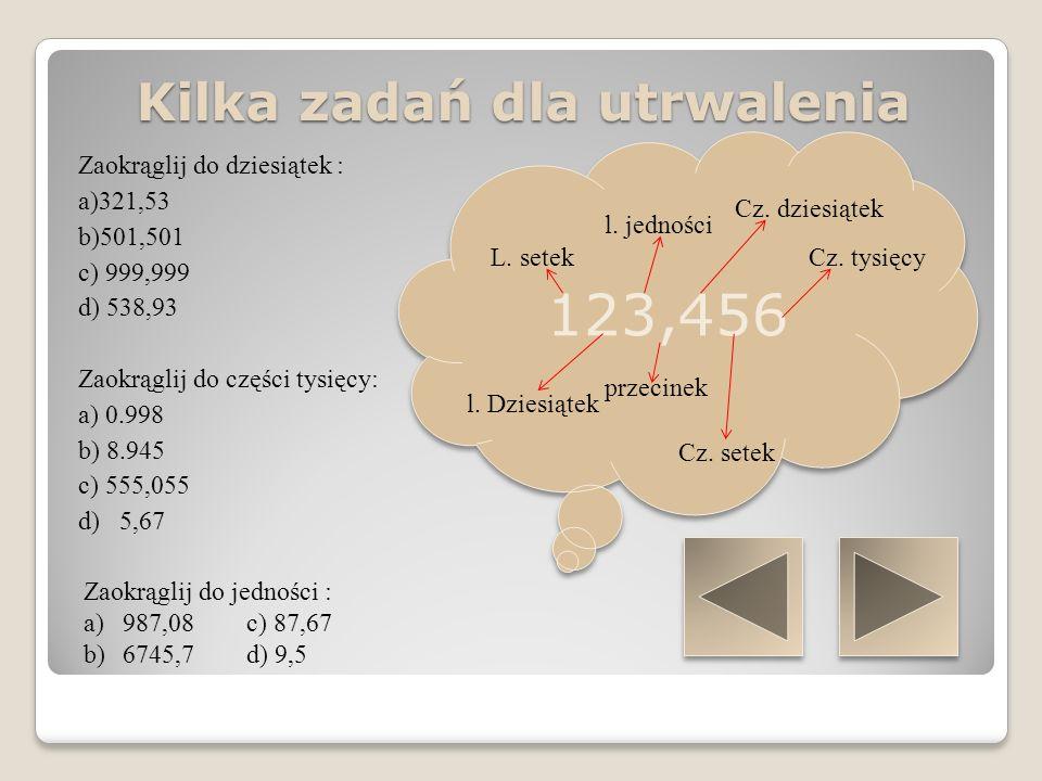 Jednostki długości 1cm = 10 mm 1dm = 10 cm 1 m = 10 dm lub 100 cm 1 km = 1000 m lub 10000 dm 1 mm 1 cm 1 dm 1 m 1 km 1 mm 1 cm 1 dm 1 m 1 km Kilka zadań dla utrwalenia Zamień na centymetry (cm) a)28mm b) 14 mm c) 14dm d) 3m Zamień na metry : a)13 dm b)45km c) 153cm c) 34mm Zamień na decymetry (dm) : a) 12m b) 14cm c) 2,5m Zamień na kilometry (km): a) 3m b) 45m c) 1345dm