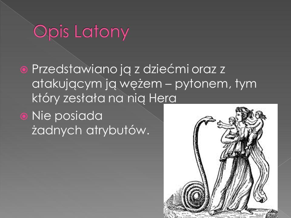 Latona była jedną z licznych kochanek Zeusa. Hera z zazdrości zesłała na Latonie pytona, gdy przed nim uciekała zatrzymała się prze strumyku, gdzie ch