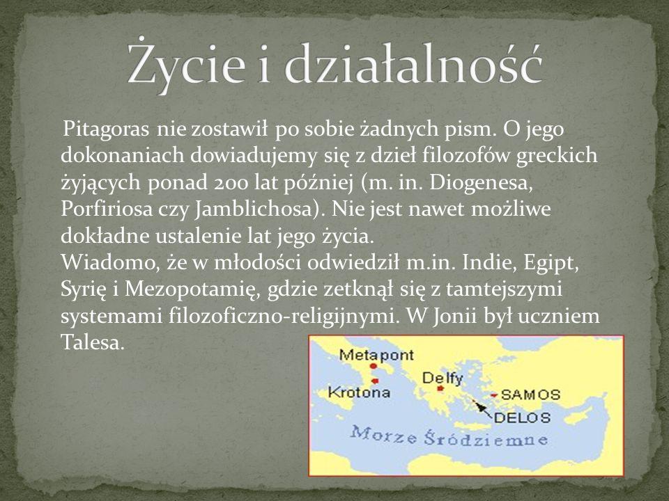 Pitagoras nie zostawił po sobie żadnych pism. O jego dokonaniach dowiadujemy się z dzieł filozofów greckich żyjących ponad 200 lat później (m. in. Dio
