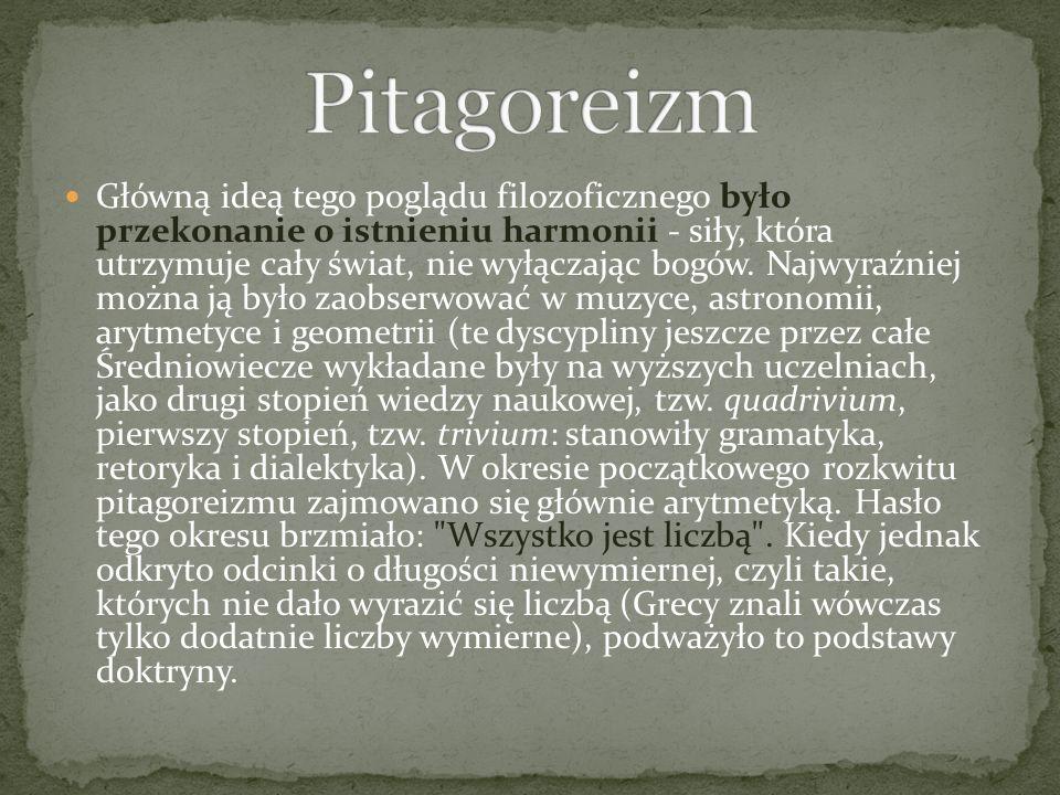 Założony przez Pitagorasa związek miał przede wszystkim charakter etyczno-religijny.