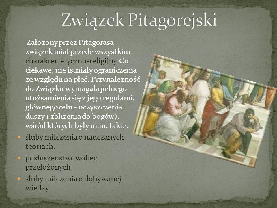 Założony przez Pitagorasa związek miał przede wszystkim charakter etyczno-religijny. Co ciekawe, nie istniały ograniczenia ze względu na płeć. Przynal