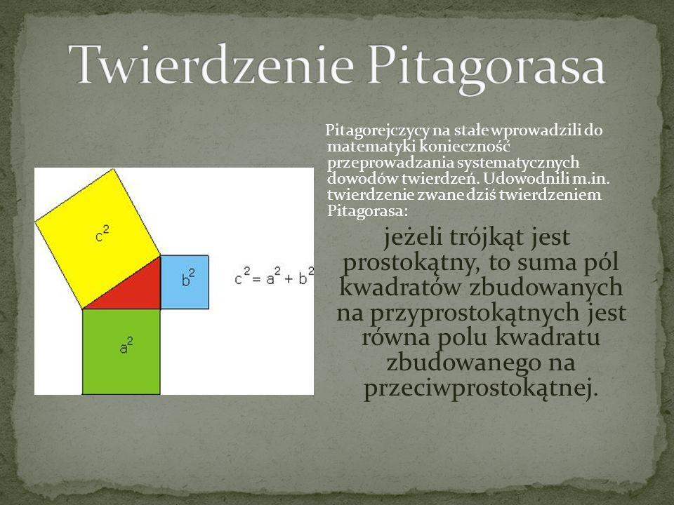 Pitagorejczycy na stałe wprowadzili do matematyki konieczność przeprowadzania systematycznych dowodów twierdzeń. Udowodnili m.in. twierdzenie zwane dz