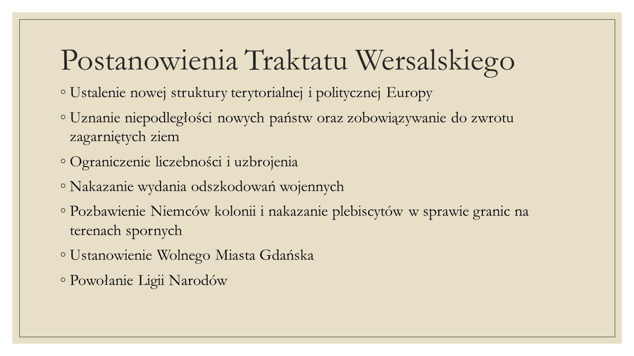 Postanowienia Traktatu Wersalskiego Ustalenie nowej struktury terytorialnej i politycznej Europy Uznanie niepodległości nowych państw oraz zobowiązywa