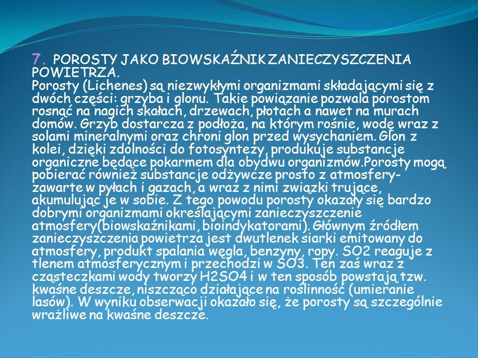 7.POROSTY JAKO BIOWSKAŹNIK ZANIECZYSZCZENIA POWIETRZA.