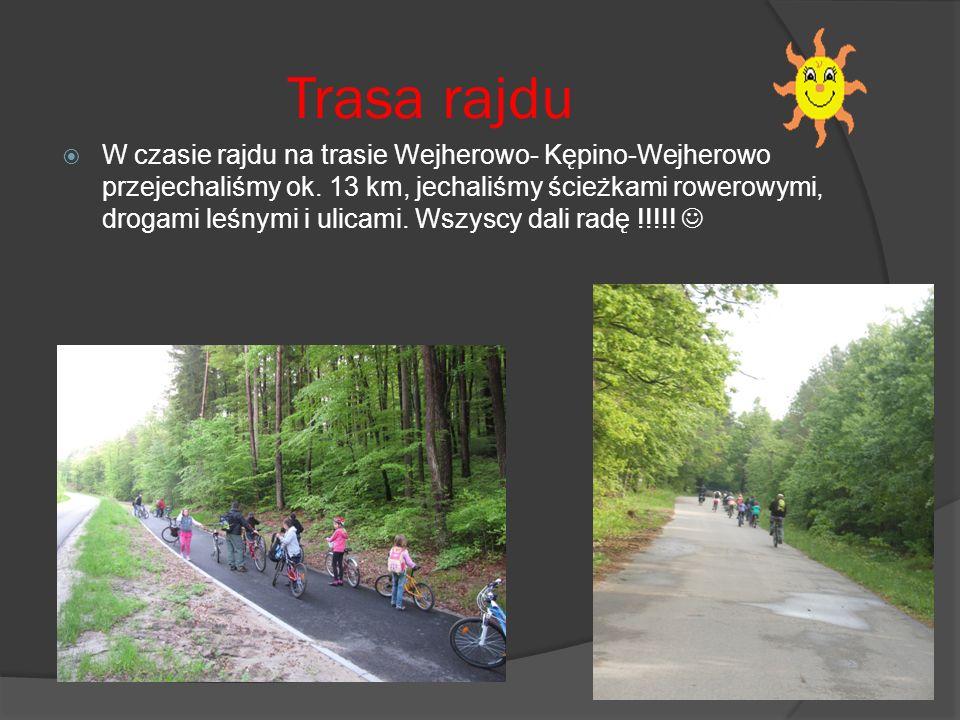 Trasa rajdu W czasie rajdu na trasie Wejherowo- Kępino-Wejherowo przejechaliśmy ok.