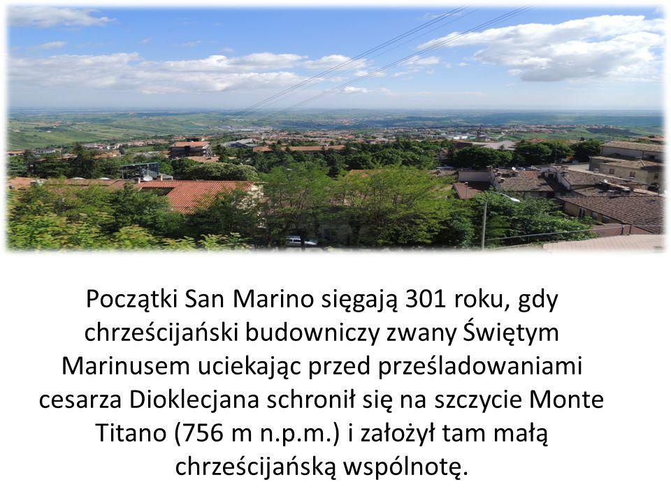 Początki San Marino sięgają 301 roku, gdy chrześcijański budowniczy zwany Świętym Marinusem uciekając przed prześladowaniami cesarza Dioklecjana schro