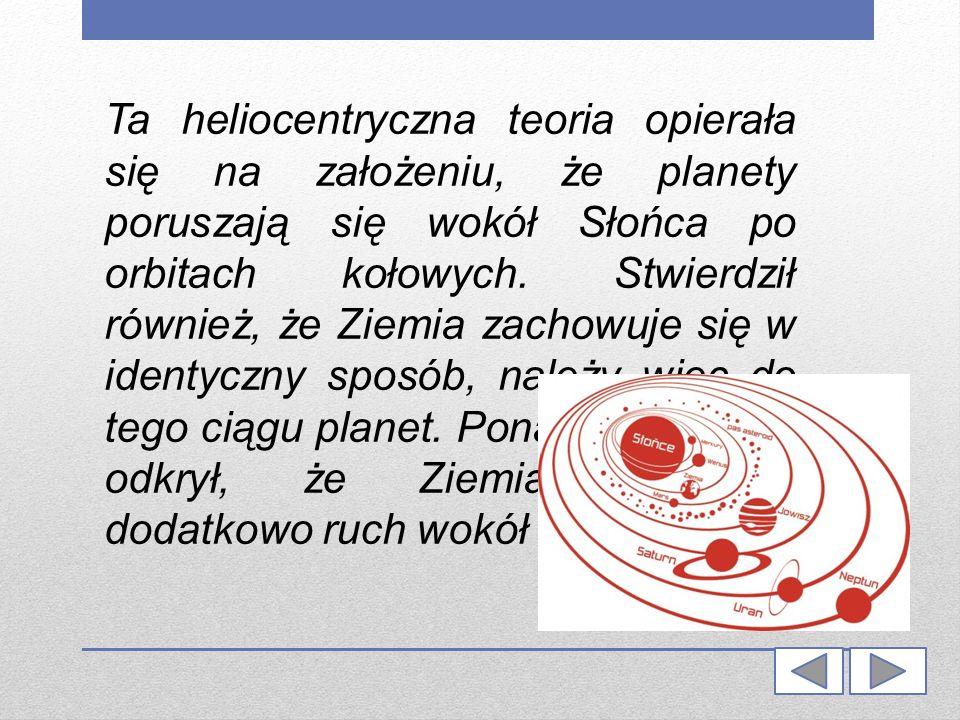 Ta heliocentryczna teoria opierała się na założeniu, że planety poruszają się wokół Słońca po orbitach kołowych. Stwierdził również, że Ziemia zachowu