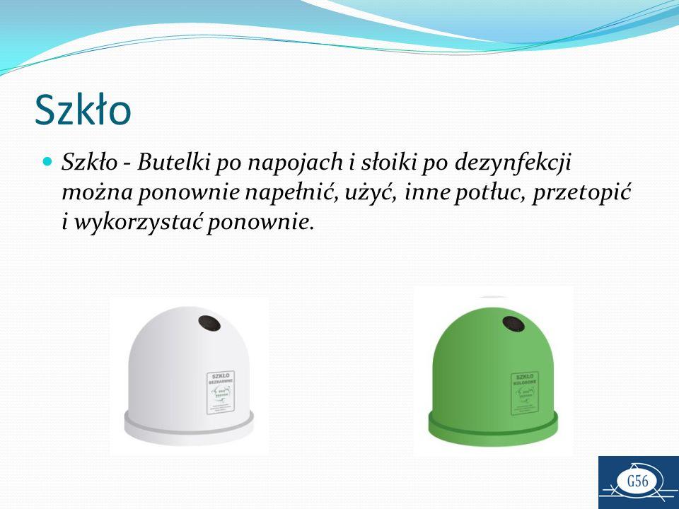 Szkło Szkło - Butelki po napojach i słoiki po dezynfekcji można ponownie napełnić, użyć, inne potłuc, przetopić i wykorzystać ponownie.