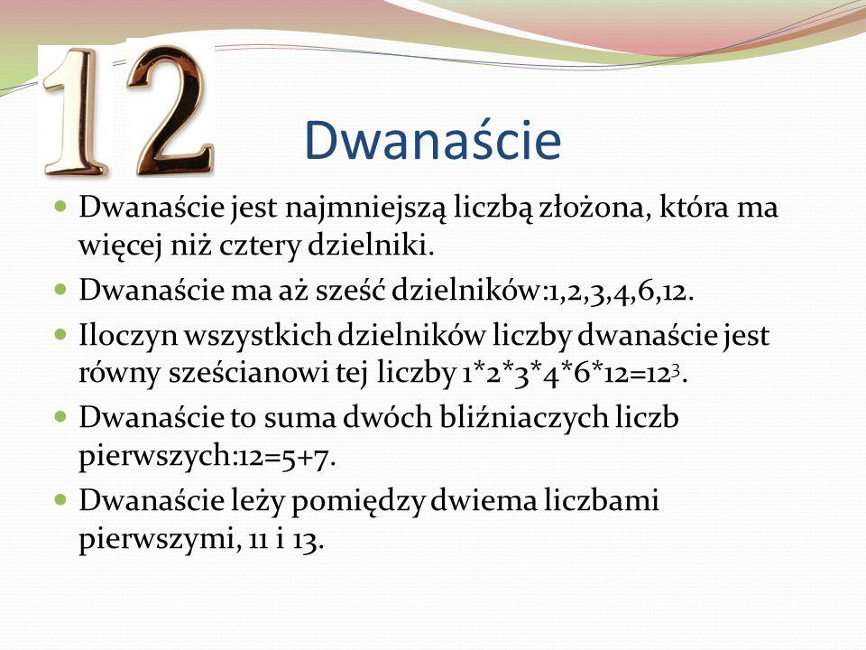 Dwanaście Dwanaście jest najmniejszą liczbą złożona, która ma więcej niż cztery dzielniki. Dwanaście ma aż sześć dzielników:1,2,3,4,6,12. Iloczyn wszy