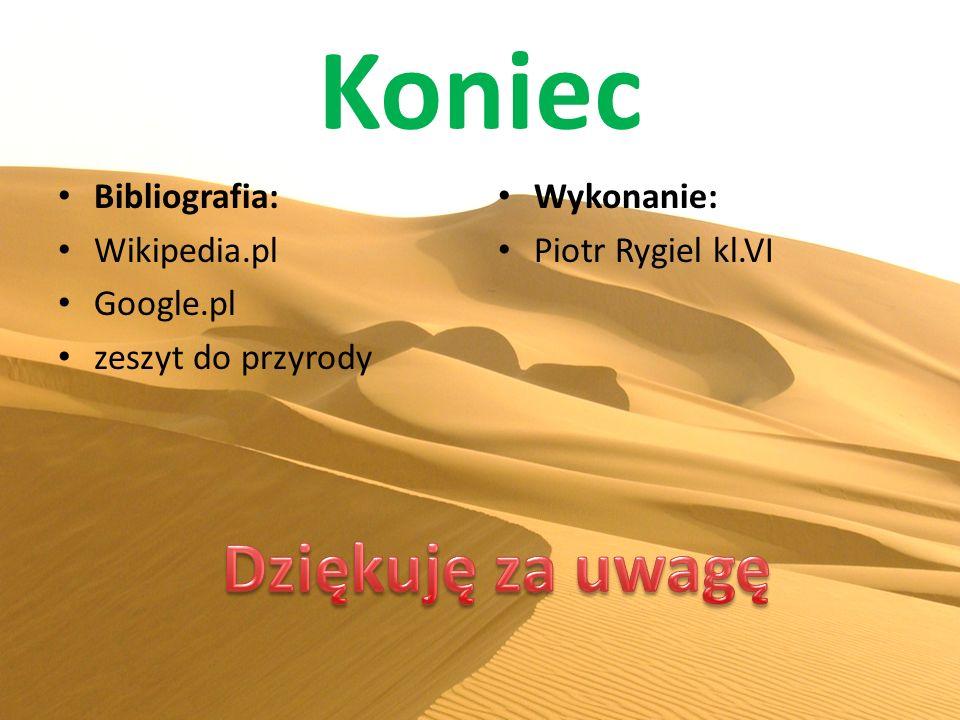 Koniec Bibliografia: Wikipedia.pl Google.pl zeszyt do przyrody Wykonanie: Piotr Rygiel kl.VI