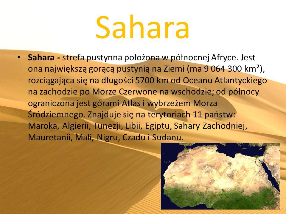Sahara Sahara - strefa pustynna położona w północnej Afryce. Jest ona największą gorącą pustynią na Ziemi (ma 9 064 300 km²), rozciągająca się na dług