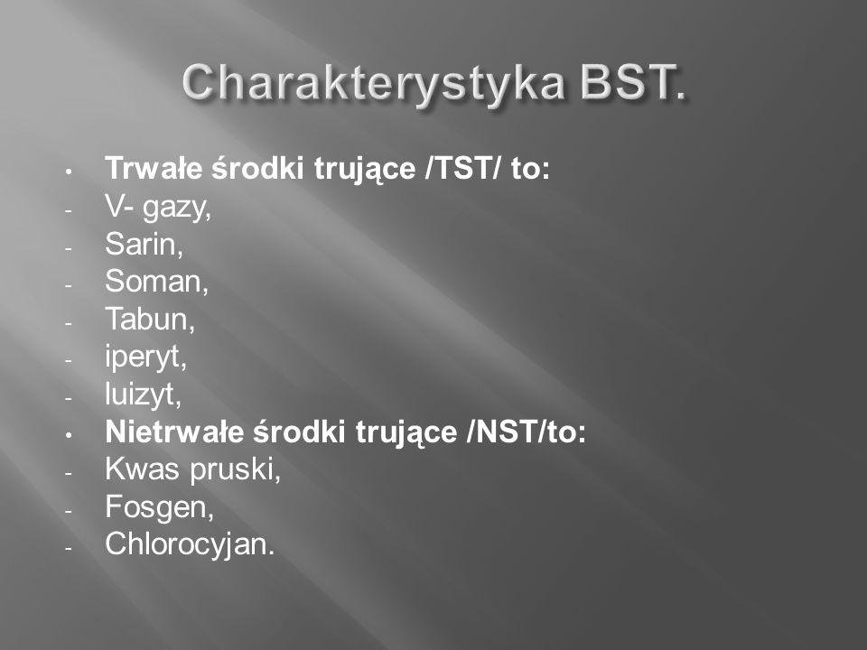 Trwałe środki trujące /TST/ to: - V- gazy, - Sarin, - Soman, - Tabun, - iperyt, - luizyt, Nietrwałe środki trujące /NST/to: - Kwas pruski, - Fosgen, -