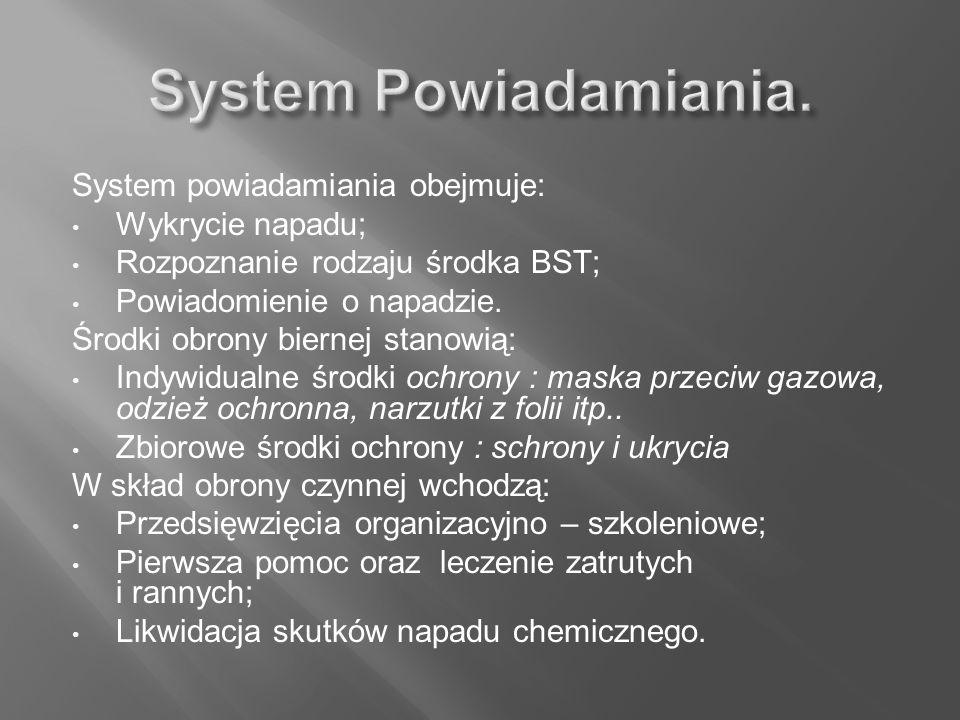 System powiadamiania obejmuje: Wykrycie napadu; Rozpoznanie rodzaju środka BST; Powiadomienie o napadzie. Środki obrony biernej stanowią: Indywidualne