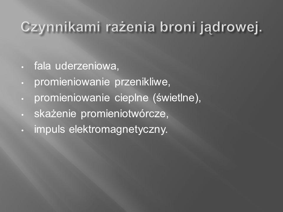 fala uderzeniowa, promieniowanie przenikliwe, promieniowanie cieplne (świetlne), skażenie promieniotwórcze, impuls elektromagnetyczny.