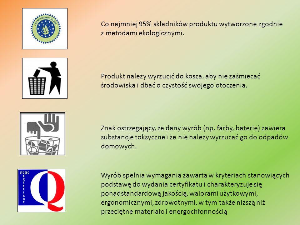 Co najmniej 95% składników produktu wytworzone zgodnie z metodami ekologicznymi.