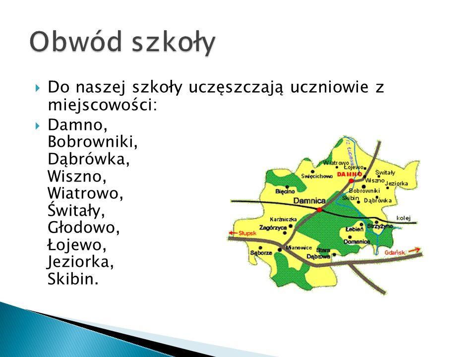 Do naszej szkoły uczęszczają uczniowie z miejscowości: Damno, Bobrowniki, Dąbrówka, Wiszno, Wiatrowo, Świtały, Głodowo, Łojewo, Jeziorka, Skibin.