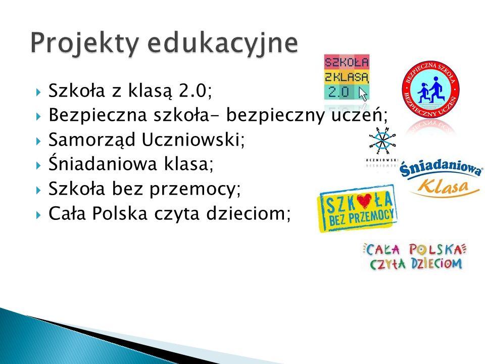 Szkoła z klasą 2.0; Bezpieczna szkoła- bezpieczny uczeń; Samorząd Uczniowski; Śniadaniowa klasa; Szkoła bez przemocy; Cała Polska czyta dzieciom;