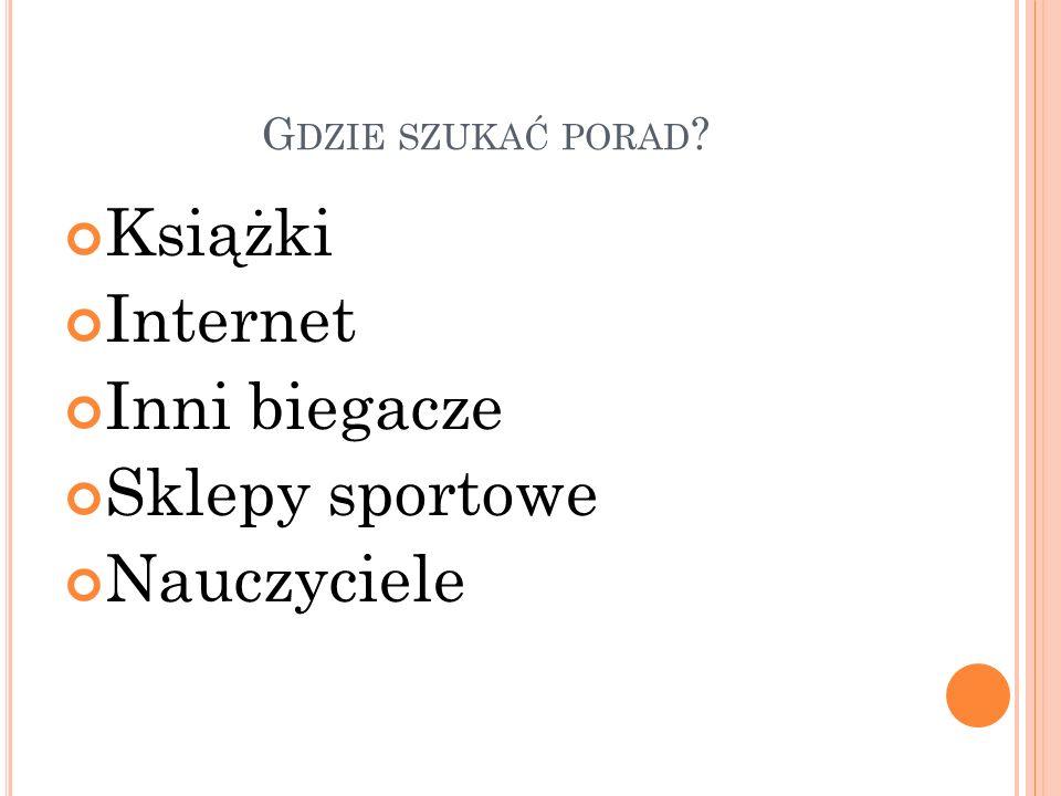 G DZIE SZUKAĆ PORAD Książki Internet Inni biegacze Sklepy sportowe Nauczyciele
