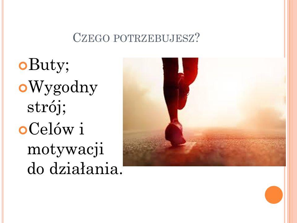B UTY Buty do biegania są zwykle trochę szersze od butów do chodzenia; Różnicę tą można zniwelować stosując ciasne wiązanie; Należy pamiętać, że podczas biegania stopa puchnie;