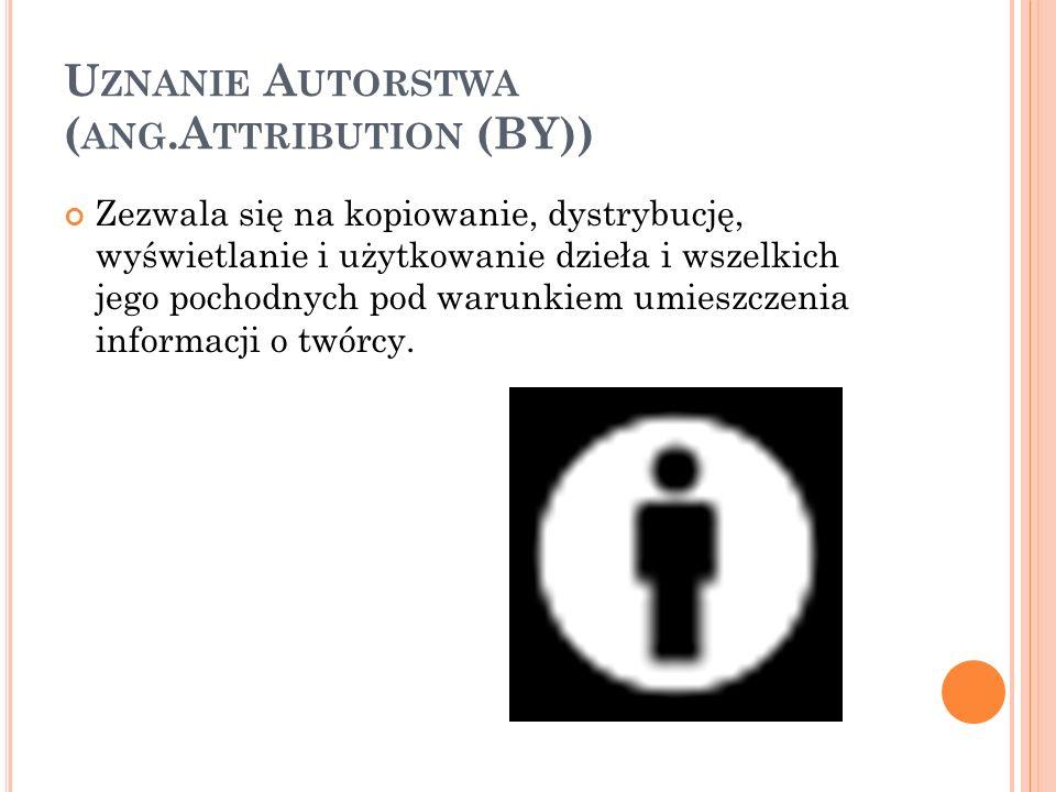 U ZNANIE A UTORSTWA ( ANG.A TTRIBUTION (BY)) Zezwala się na kopiowanie, dystrybucję, wyświetlanie i użytkowanie dzieła i wszelkich jego pochodnych pod