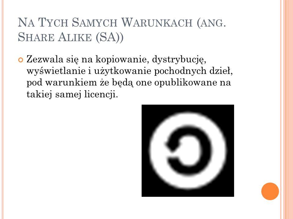 N A T YCH S AMYCH W ARUNKACH ( ANG. S HARE A LIKE (SA)) Zezwala się na kopiowanie, dystrybucję, wyświetlanie i użytkowanie pochodnych dzieł, pod warun