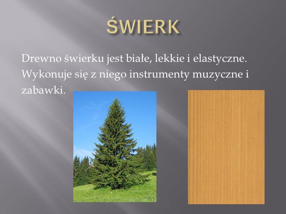 Drewno świerku jest białe, lekkie i elastyczne. Wykonuje się z niego instrumenty muzyczne i zabawki.