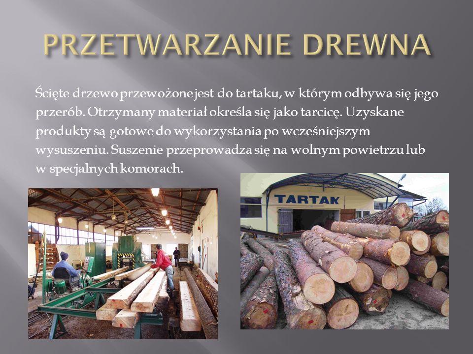 Ścięte drzewo przewożone jest do tartaku, w którym odbywa się jego przerób. Otrzymany materiał określa się jako tarcicę. Uzyskane produkty są gotowe d