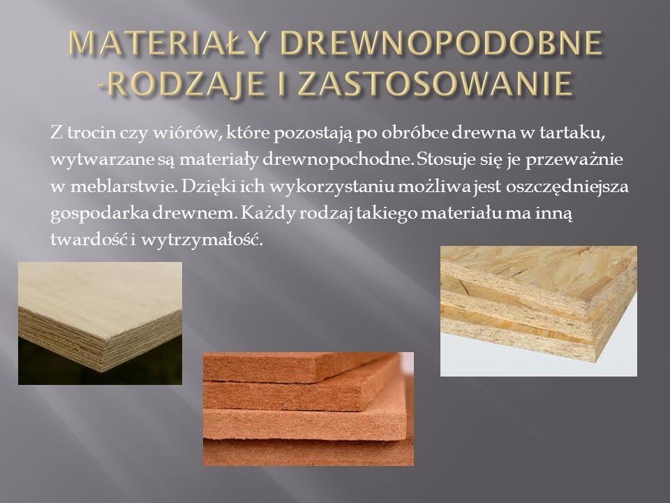 Z trocin czy wiórów, które pozostają po obróbce drewna w tartaku, wytwarzane są materiały drewnopochodne. Stosuje się je przeważnie w meblarstwie. Dzi