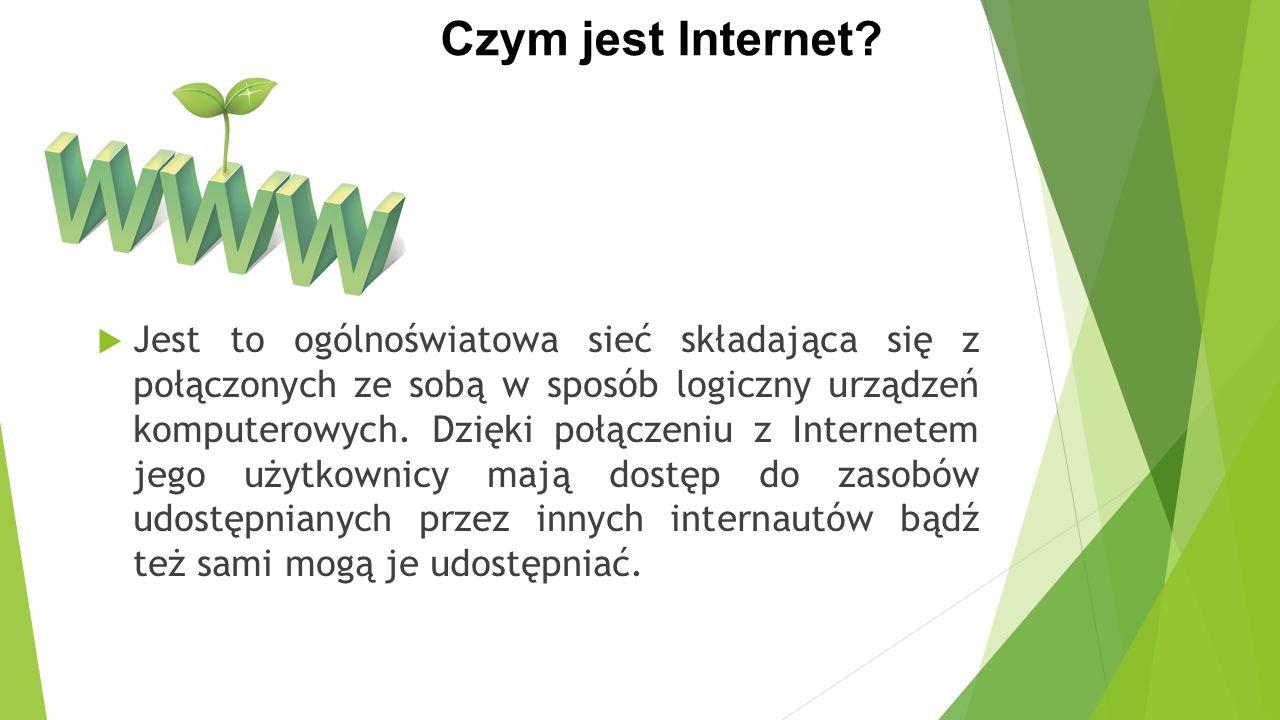 Oferowane usługi Internet prócz dostępnych w nim zasobów oferuje wiele usług, do najpopularniejszych należą: poczta e-mail telefonia internetowa (VoIP) sklepy/aukcje internetowe bankowość elektroniczna gry online radio internetowe rozmowy tekstowe w czasie rzeczywistym (IRC) dyskusje internetowe komunikatory internetowe(Gadu-gadu, Tlen, Skype)